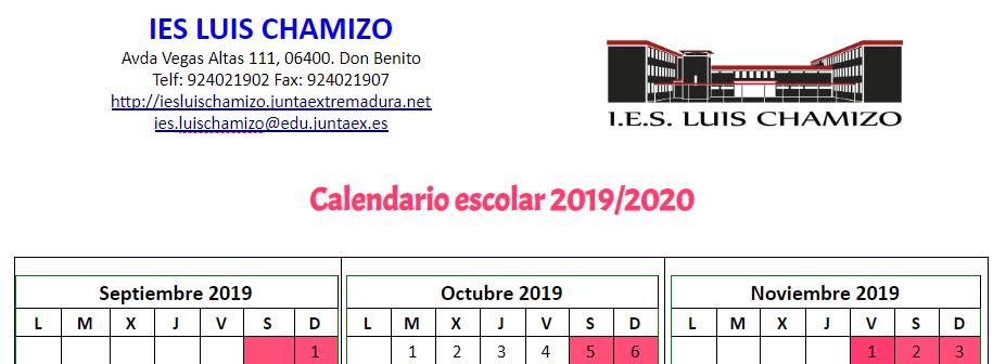 Calendario Escolar 18 19 Cantabria.I E S Luis Chamizo Portada
